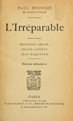 L'Irréparable | Paul Bourget