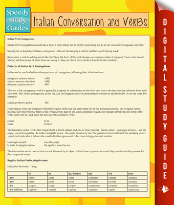 Italian Conversation and Verbs (Speedy Language Study Guide)