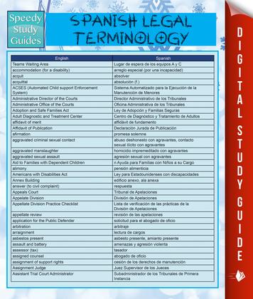 Spanish Legal Terminology: Speedy Study Guides
