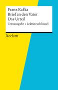 Textausgabe + Lektüreschlüssel. Franz Kafka: Brief an den Vater / Das Urteil