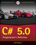 C# 5.0 Programmer's Reference