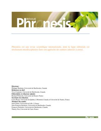 Phronesis Vol 3 numéro 4
