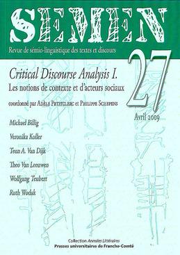 27   2009 - Critical Discourse Analysis I. Les notions de contexte et d'acteurs sociaux - Semen