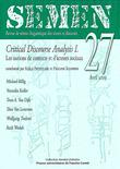 27 | 2009 - Critical Discourse Analysis I. Les notions de contexte et d'acteurs sociaux - Semen