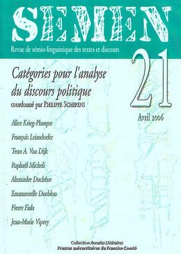 21   2006 - Catégories pour l'analyse du discours politique - Semen
