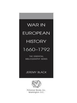 War in European History, 1660û1792