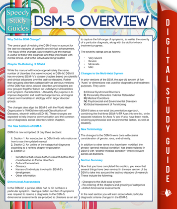 DSM-5 Overview (Speedy Study Guides)