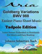 Aria Goldberg Variations Bwv 988 Easiest Piano Sheet Music Tadpole Edition