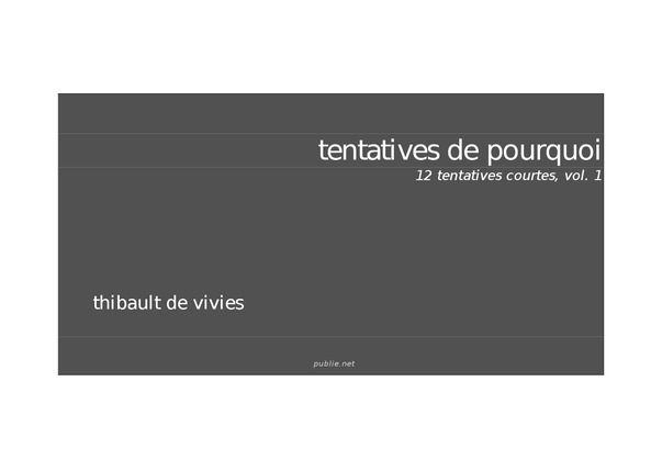Tentatives de pourquoi, 12 tentatives courtes