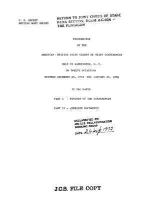 Proceedings of the American-British Joint Chiefs of Staff Conferences held in Washington, D.C. on twelve occasions between December 24, 1941 and January 14, 1942.