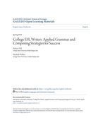 College ESL Writers: Applied Grammar and Composing Strategies for Success