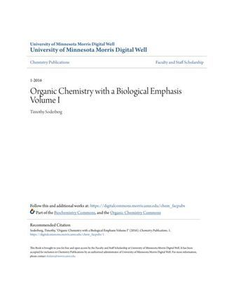 Organic Chemistry with a Biological Emphasis Volume I