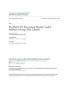 My Math GPS: Elementary Algebra Guided Problem Solving (2016 Edition)