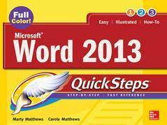 Microsoft(r) Word 2013 Quicksteps
