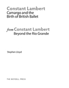 An Extract from: Constant Lambert, Beyond The Rio Grande: Camargo and the Birth of British Ballet 1928-1931