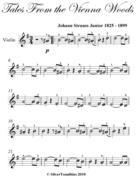 Tales from the Vienna Woods Easy Violin Sheet Music