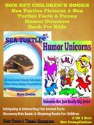 Sea Turtles Pictures & Sea Turtles Facts & Funny Humor Unicorns Book For Kids - Discovery Kids Books & Rhyming Books For Children: 2 In 1 Box Set Chil