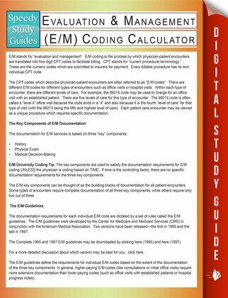Evaluation & Management (E/M) Coding Calculator (Speedy Study Guides)