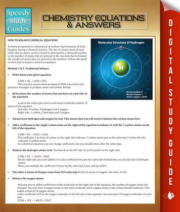 Chemistry Equations & Answers: Speedy Study Guides