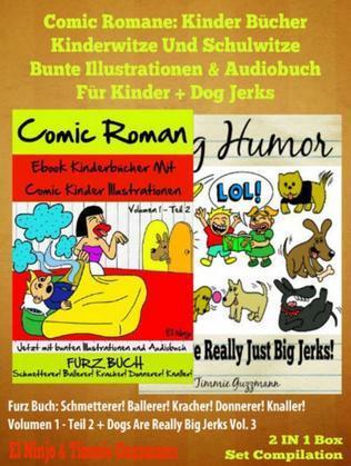 Comic Romane: Kinder Bücher Kinderwitze Und Schulwitze (Bunte Illustrationen & Audiobuch für Kinder) + Dog Jerks: Dog Jerks