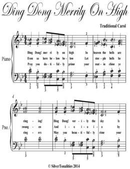Ding Dong Merrily On High Easy Intermediate Piano Sheet Music
