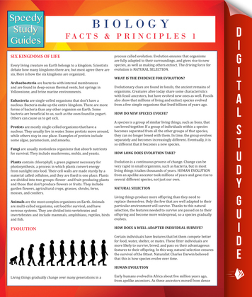 Biology Facts And Principles 1 (Speedy Study Guides)