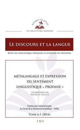 """Métalangage et expression du sentiment linguistique """"profane"""""""