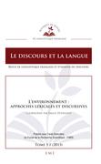 L'environnement : approches lexicales et discursives