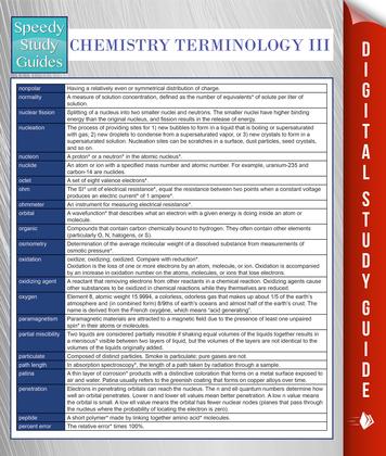 Chemistry Terminology III (Speedy Study Guides)