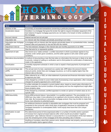 Home Loan Terminology 1: Speedy Study Guides