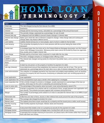 Home Loan Terminology 2: Speedy Study Guides