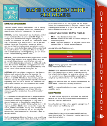 Math 1 Common Core 9th Grade (Speedy Study Guides)