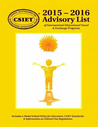 2015 - 2016 Advisory List of International Educational Travel & Exchange Programs