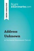 Book Analysis: Address Unknown by Kathrine Kressmann Taylor