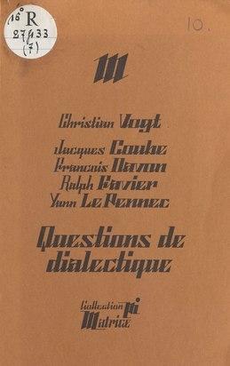 Questions de dialectique