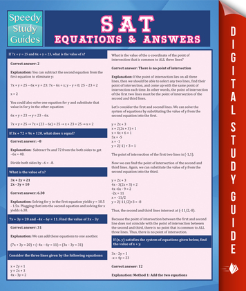SAT Equations & Answers (Speedy Study Guide)