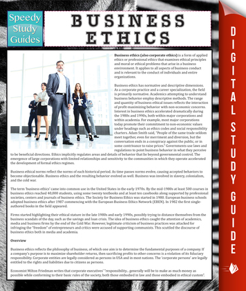 Business Ethics: Speedy Study Guides