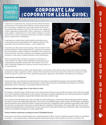 Corporate Law (Coporation Legal Guide) (Speedy Study Guide)