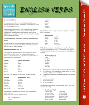 English Verbs: Speedy Study Guides