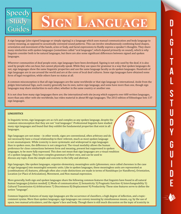 Sign Language: Speedy Study Guides