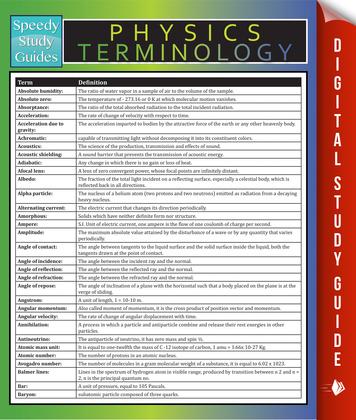 Physics Terminology: Speedy Study Guides