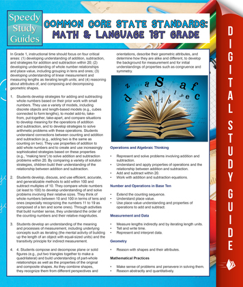 Common Core State Standards: Math And Language 1st Grade: (Speedy Study Guides)
