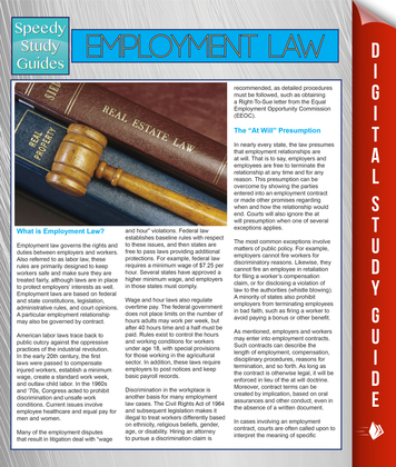 Employment Law (Speedy Study Guides)