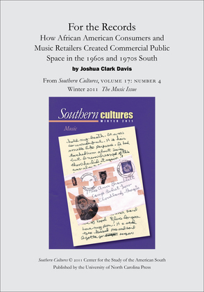 For the Records: How African American Consumers and Music Retailers Created Commercial Public Space in the 1960s and 1970s South