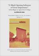 """""""A Mind-Opening Influence of Great Importance"""": Arthur Raper at Agnes Scott College"""
