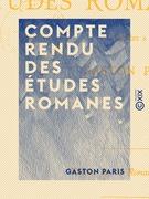 Compte rendu des Études romanes