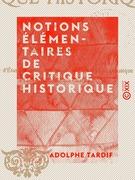 Notions élémentaires de critique historique