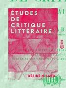 Études de critique littéraire