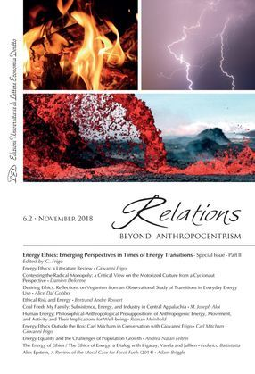 Relations. Beyond Anthropocentrism. Vol. 6, No. 2 (2018). Energy Ethics: Emerging Perspectives in Times of Energy Transitions. Part II