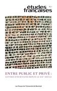 Études françaises. Vol. 55 No. 1,  2019
